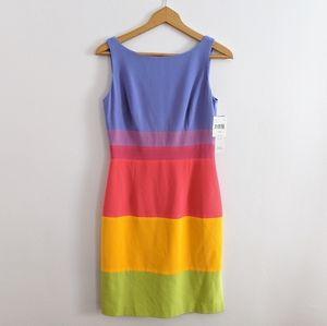 NWT Maggy London Rainbow Color Block Sheath Dress